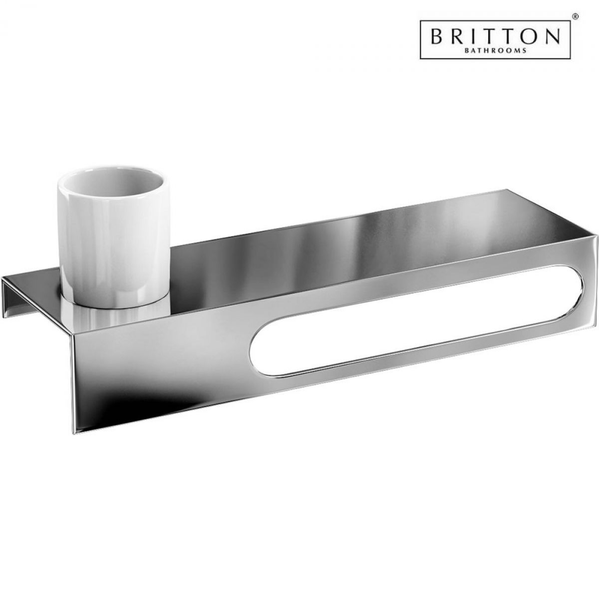 britton stainless steel shelf 550mm with towel rail and. Black Bedroom Furniture Sets. Home Design Ideas