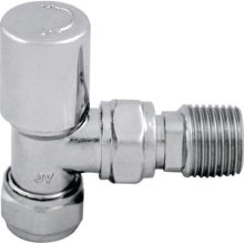 Abacus Utima wheel head locksheild Angle Radiator Valve - Chrome 15mm UVM15LS